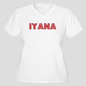 Retro Iyana (Red) Women's Plus Size V-Neck T-Shirt