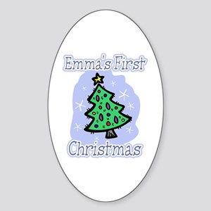 Emma's First Christmas Oval Sticker