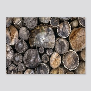 rustic farmhouse wood log 5'x7'Area Rug