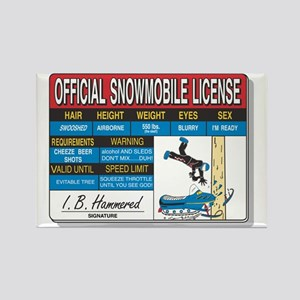 Snowmobile License tee Rectangle Magnet