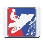 Red White and Blue Snowmobiler Mousepad