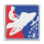 Red White Snowmobile Tile Coaster