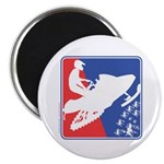 Red White Snowmobile Round Magnet