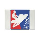 Red White Snowmobile Rectangle Magnet (10 pack)