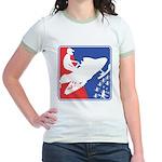 Red White and Blue Snowmobiler Jr. Ringer T-Shirt