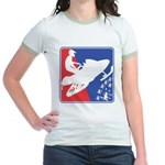 Red White Snowmobile Jr. Ringer T-Shirt