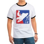 Red White Snowmobile Ringer T