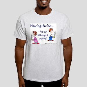 Having Twins - An All-Night P Ash Grey T-Shirt