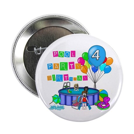 """Pool Party 4th Birthday 2.25"""" Button"""