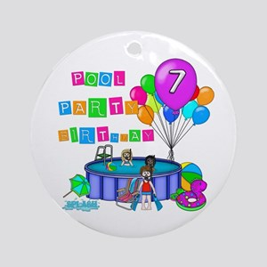 Pool Party 7th Birthday Ornament (Round)