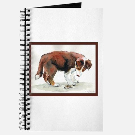 Puppy meets grasshopper Journal