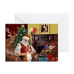 Santa's Basenji Greeting Cards (Pk of 10)