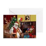 Santa's Basenji Greeting Cards (Pk of 20)