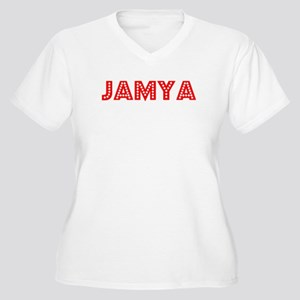 Retro Jamya (Red) Women's Plus Size V-Neck T-Shirt