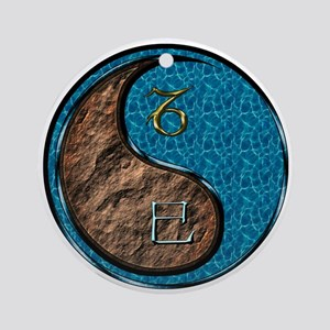 Capricorn & Water Snake Round Ornament