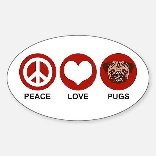 Peace Love Pugs Oval Decal