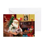 Santa's 2 Pekingese Greeting Cards (Pk of 10)
