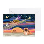 XmasStar/Pekingese (red) Greeting Card