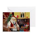 Santa's Mini Schnauzer Greeting Card