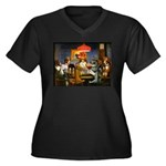 Dogs Playing RPGs! Women's Plus Size V-Neck Dark T