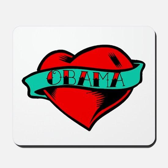 Obama Heart Tattoo Mousepad