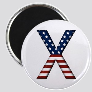 X Stars and Stripes Round Magnet