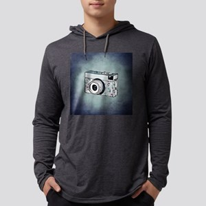 Floral Camera on Blue Long Sleeve T-Shirt