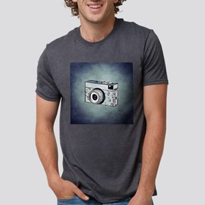 Floral Camera on Blue T-Shirt