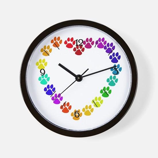 Cat Print Heart Wall Clock