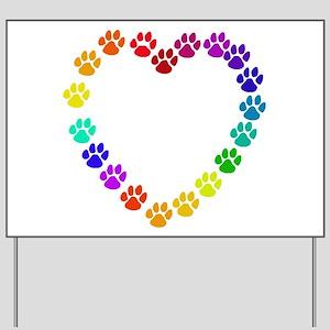 Cat Print Heart Yard Sign