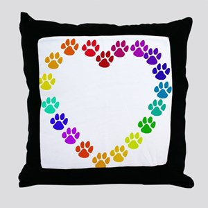 Cat Print Heart Throw Pillow