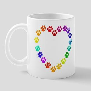 Cat Print Heart Mug
