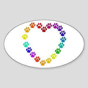 Cat Print Heart Oval Sticker