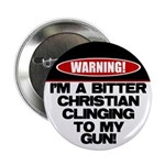 "Warning: Christian with Gun 2.25"" Button"