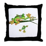 Musky Flying Frog Throw Pillow