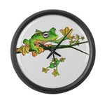 Musky Flying Frog Large Wall Clock