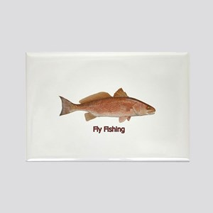 Fly Fishing - Red Drum Rectangle Magnet