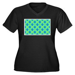 Squares And Angles Plus Size V-Neck Dark T-Shirt