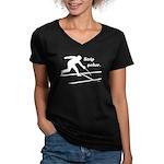Strip Poker Women's V-Neck Dark T-Shirt