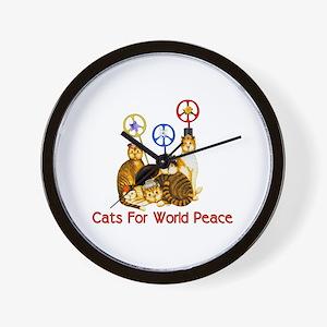 World Peace Cats Wall Clock