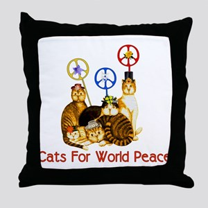 World Peace Cats Throw Pillow