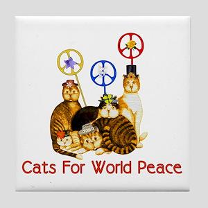 World Peace Cats Tile Coaster