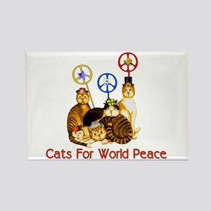 World Peace Cats Rectangle Magnet
