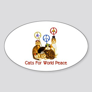 World Peace Cats Oval Sticker