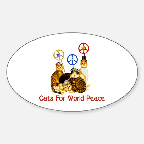 World Peace Cats Oval Decal