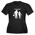 Fencing Dad Women's Plus Size V-Neck Dark T-Shirt