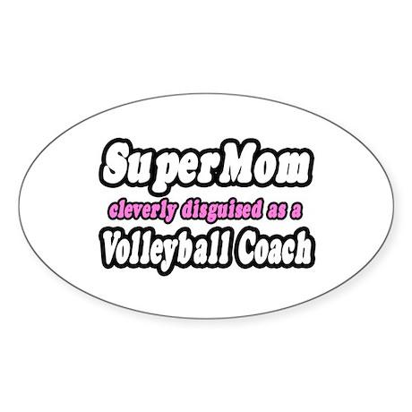 """SuperMom...Volleyball Coach"" Oval Sticker (50 pk)"