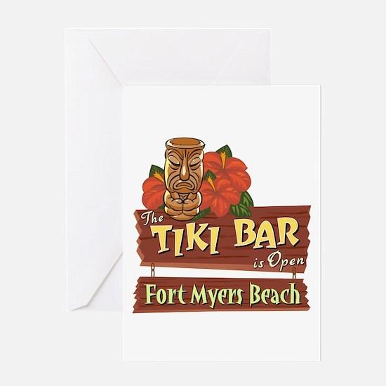 Fort Myers Beach Tiki Bar - Greeting Card