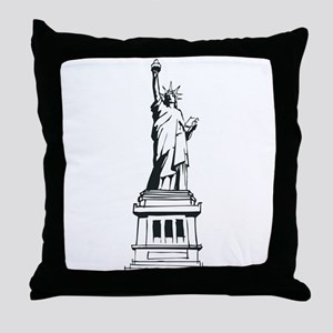 Hand Drawn Statue Of Liberty Throw Pillow