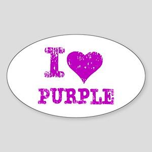 I Love Purple Oval Sticker